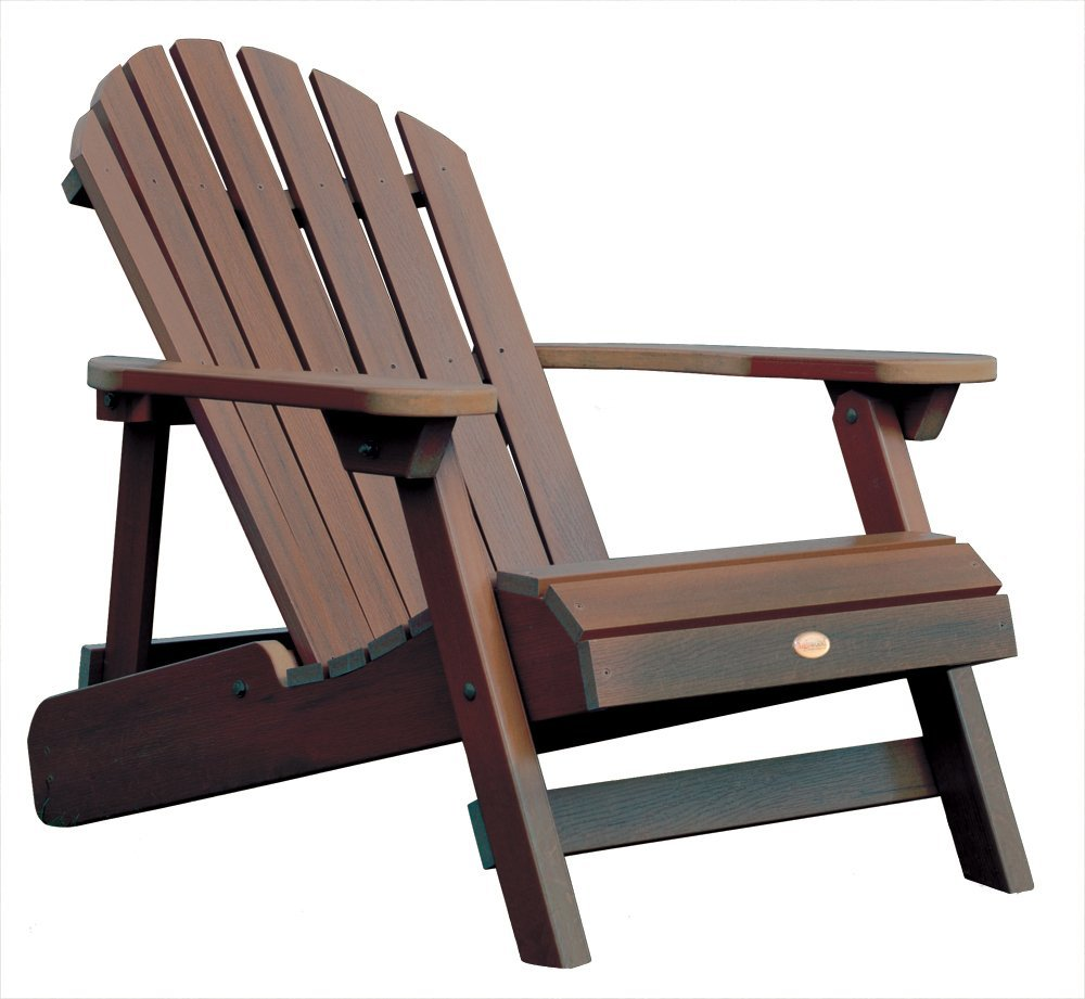 Highwood Synthetic Wood Outdoor Furniture   Folding Reclining ADULT  Adirondack Chair   Weathered Acorn Color