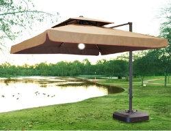 Incroyable Lighted Patio Umbrella   Wanda Portofino Pro 10x10 Sunbrella Canopy    UP333PC   Teak Fabric