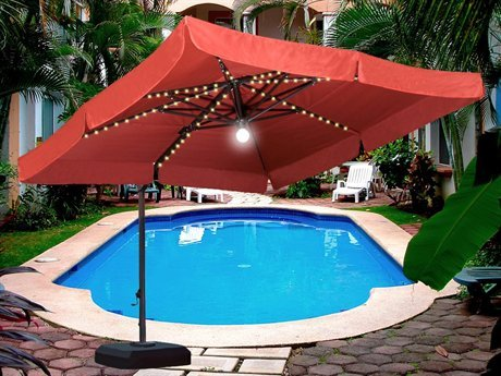 Wanda Milano Pro 10X10 Foot Square Offset Patio Umbrella With Power Base    Forest Green